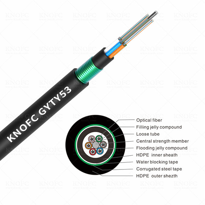 Double Jacket Armored 24 Core GYTY53 Underground Fiber Optic Cable 0